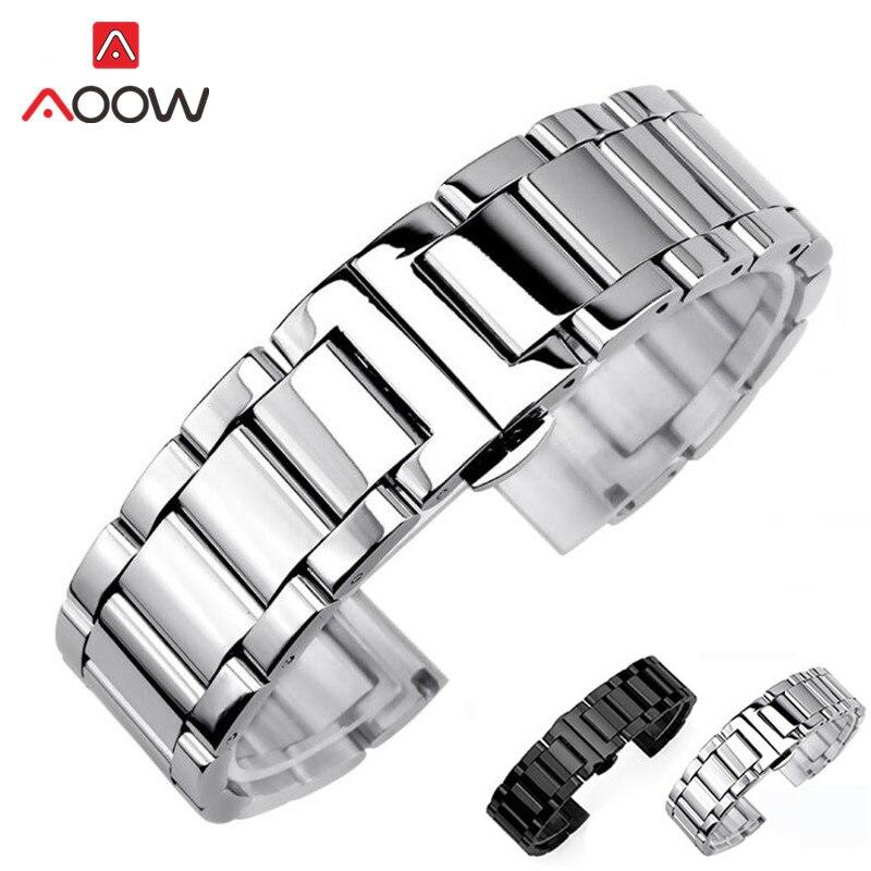 3 pointeur en acier inoxydable Bracelet de montre 18mm 20mm 22mm 24mm poli mat déploiement boucle remplacement Bracelet Bracelet de montre sangle