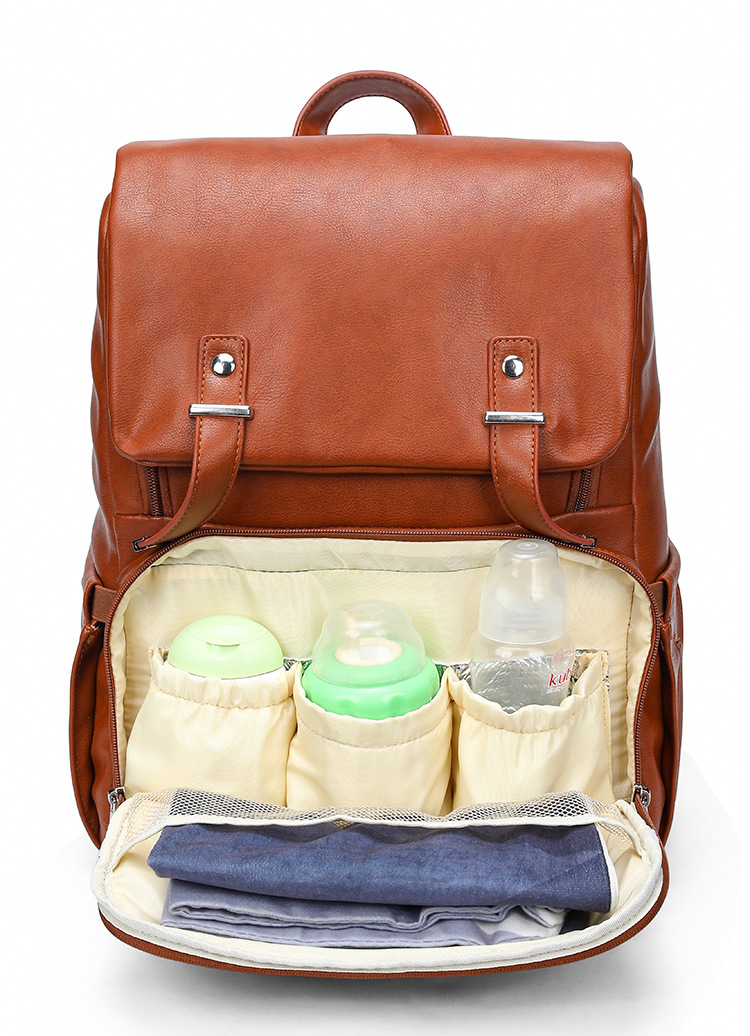 Fashion Mummy PU Diaper Bag Travel Maternity Backpack Nappy Changing Bag Stroller Thermal Insulation Baby Mommy Mother Bag Emon (10)