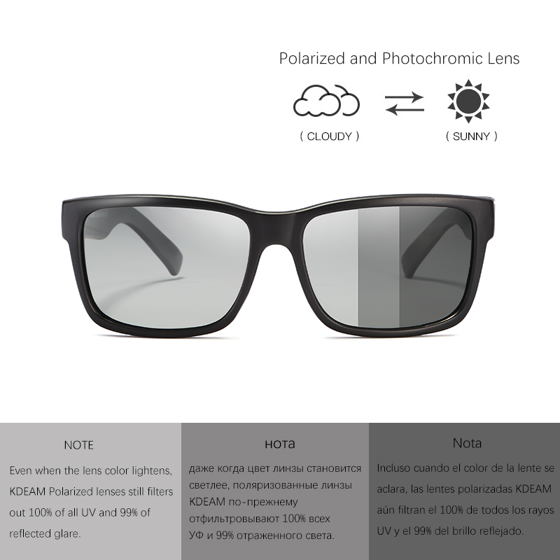 2019 KDEAM Photochromic Polarized Sunglasses Men Sport Eyewear Metal Hinge Women Sun Glasses Reflective Coating With Case KD505