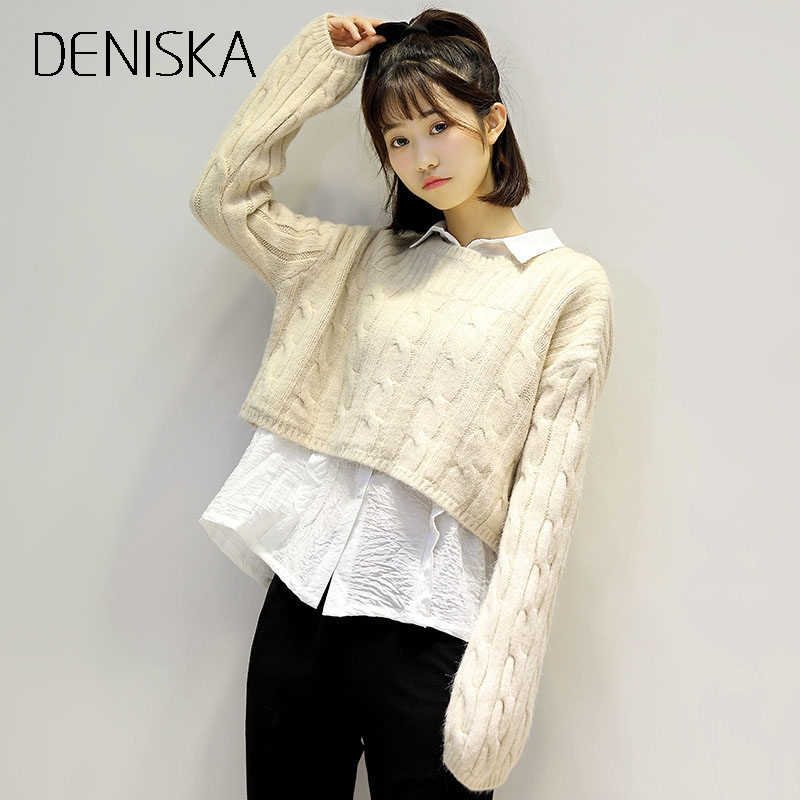 DENISKA New Fashion 2017 Designer Sweater Womens Long Sleeve Solid Color Knitting Pullover Sweater