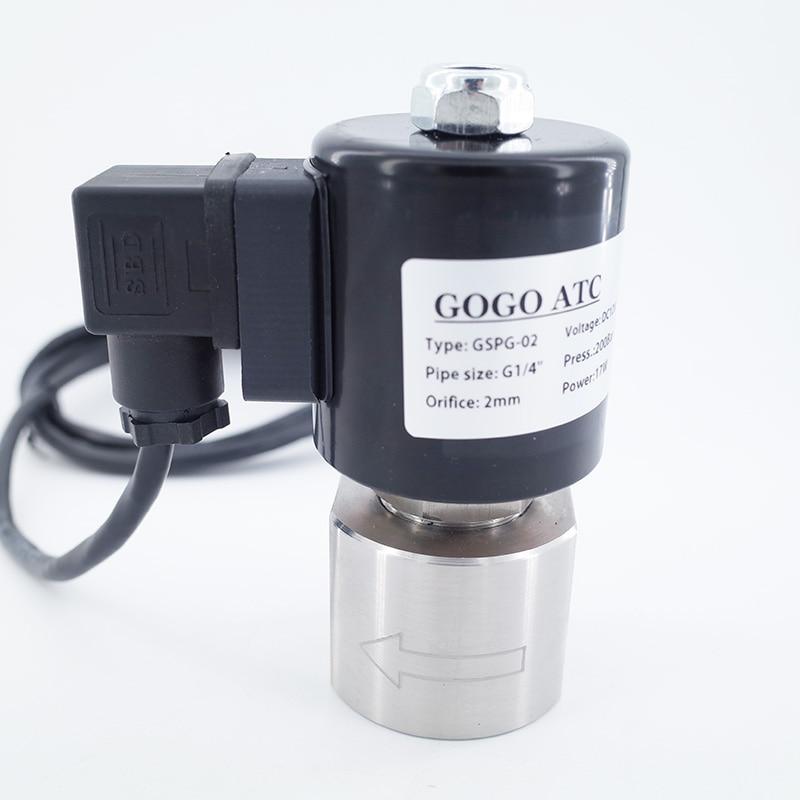 220VAC 200bar 2 way waterproof high pressure solenoid valve SS304 1 4 inch Orifice 2mm normal