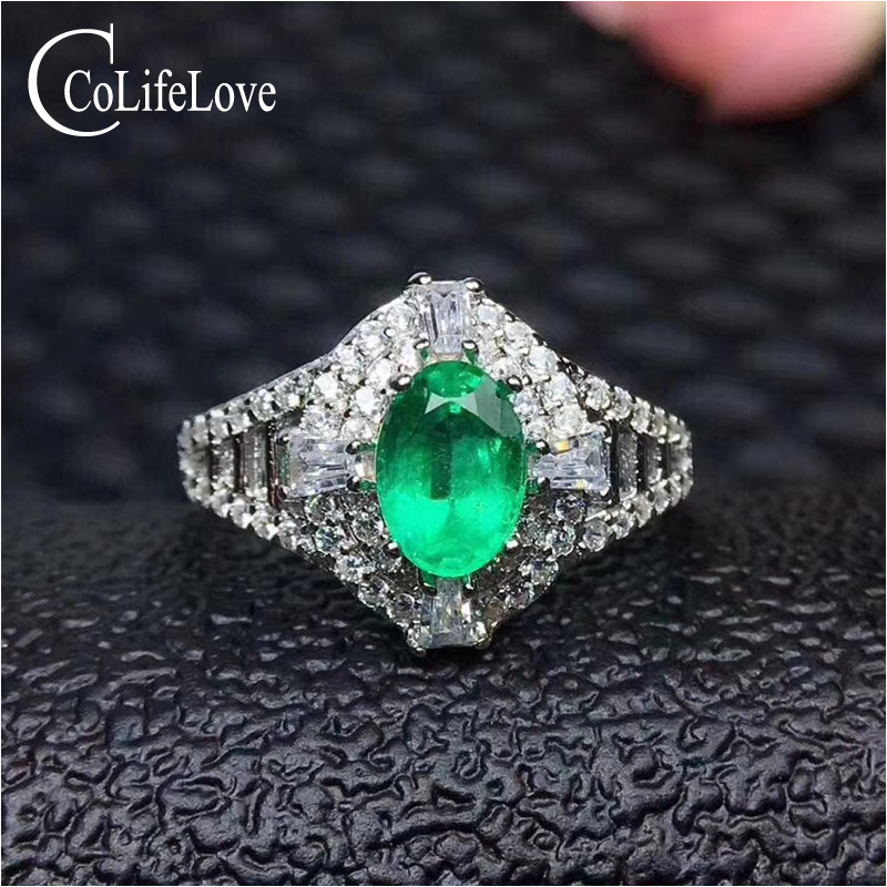 Vintage silver emerald engagement ring for woman 0.6 ct 5 mm * 7 mm real emerald silver ring solid 925 silver emerald jewelry