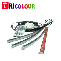 Car Auto Interior LED Atmosphere Strip Lights Lamp Decoration 7 Colors 4pcs In One 12V Wireless