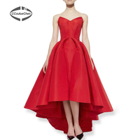 A-Line Party Dresses PDC-001 Vestidos New Sweetheart A-Line Puffy Satin Red Hi Lo Summer Party Celebrity robe de soiree longue