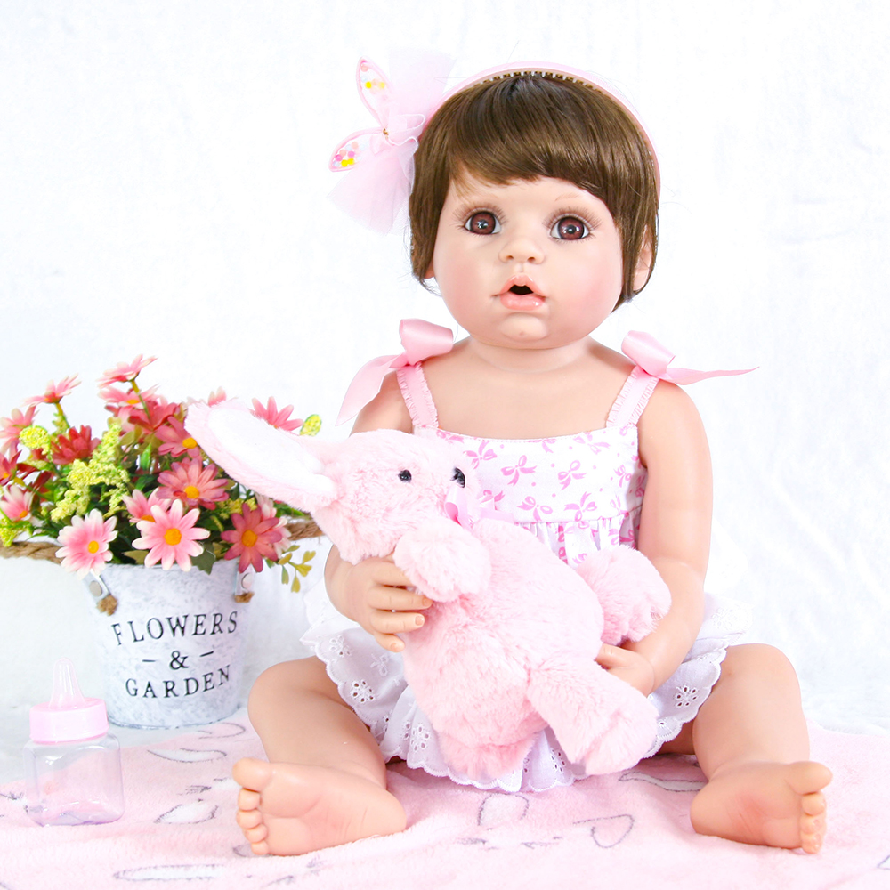 Adorable Reborn Baby Full Body Silicone Girls Baby Alive Toddler Dolls Toys for Children Girls Educational Birthday Gift Dolls adorable soft cloth body silicone reborn toddler princess girl baby alive doll toys with strap denim skirts pink headband dolls