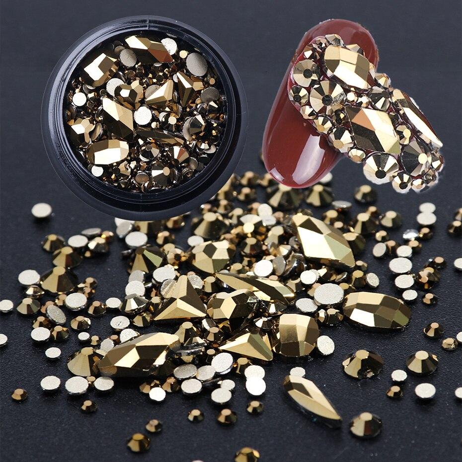 Rhinestones Diamonds-Accessories Manicure-Decorations Crystal Gems Sparkly White AB 1box