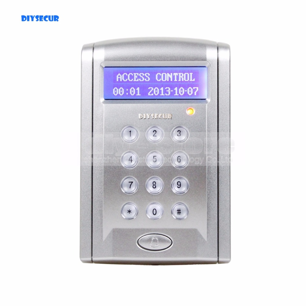 DIYSECUR Proximity RFID Reader 125KHz Keypad Access Controller Security System Kit With Doorbell Button + 10 Free ID Keyfobs diysecur lcd 125khz rfid keypad password id card reader door access controller 10 free id key tag b100