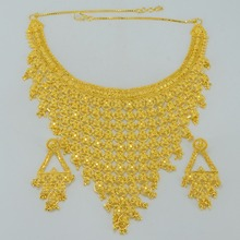 Bonzer Wedding India Jewelry sets Gifts,African Gold Plated & Copper Dubai Necklaces/Earrings,Arab Middle East Necklace #004023