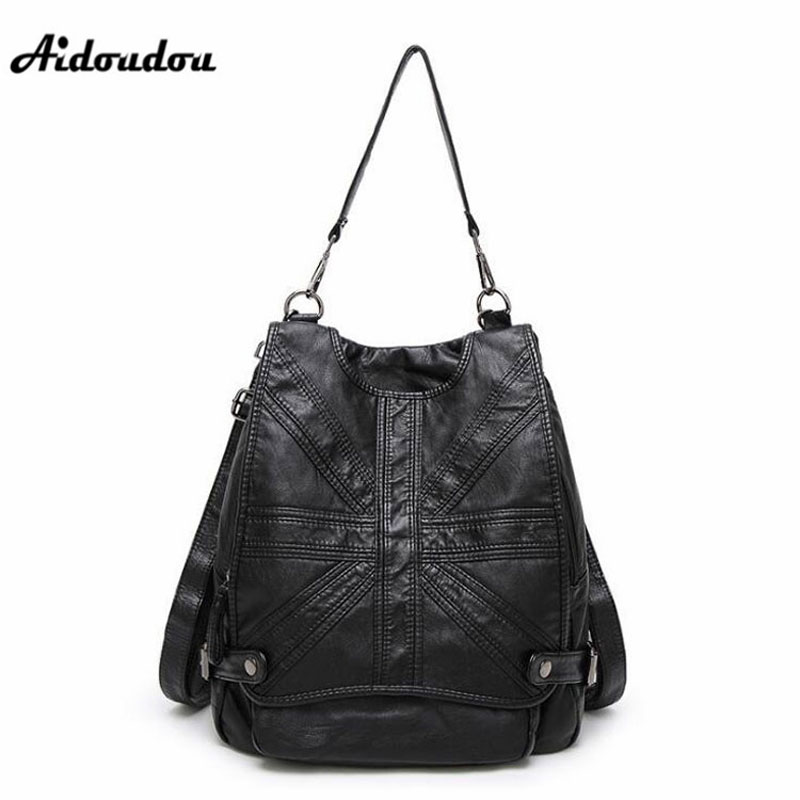 Aidoudou European Style Women Backpacks Fashion Genuine Leather Backpack Multifunctional Designer Ladies Travel Shoulder Bags