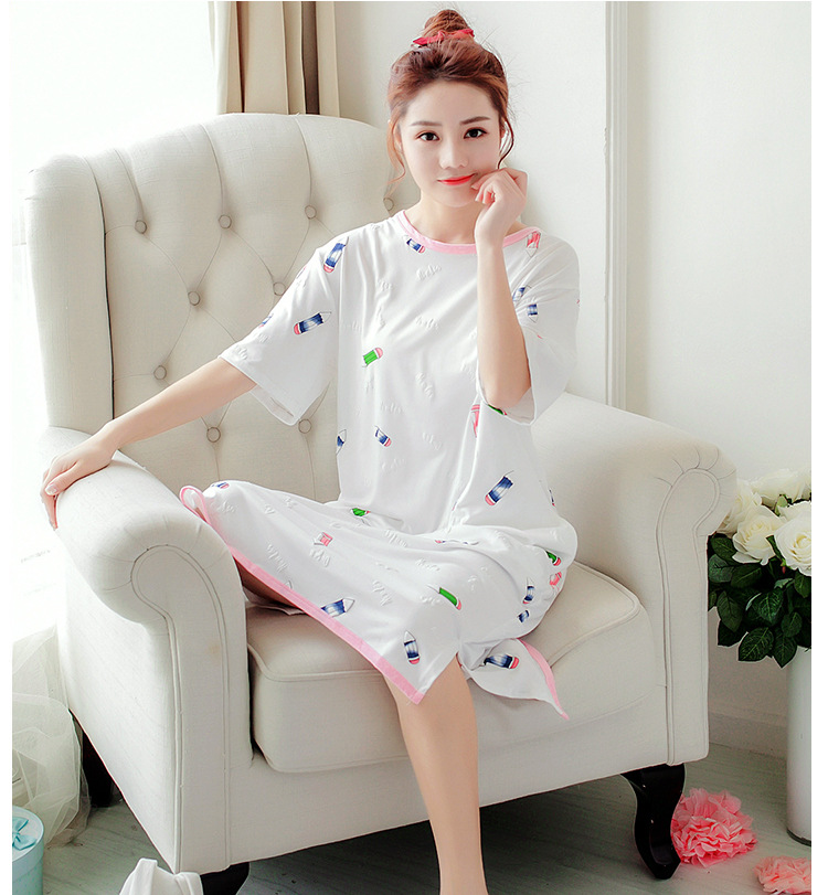 <Stock> Pregnant Women Nightwear Sleepwear Pajamas Pregnant Maternity Nursing Breast Feeding Postpartum Over Size Comfy Dress