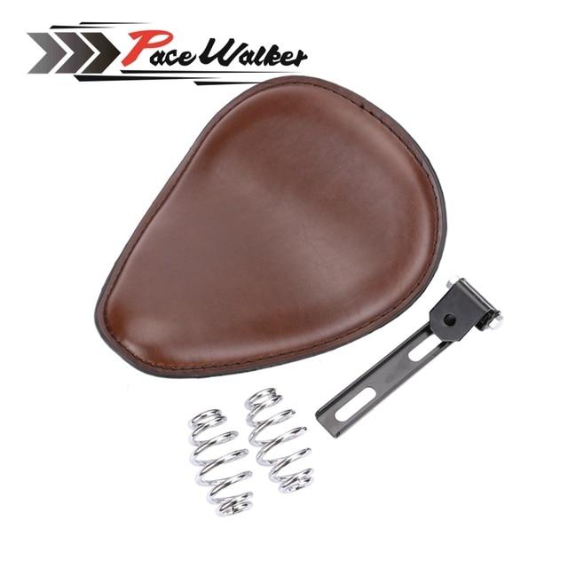 "Brown 3"" Spring bracket Solo Seat for Bobber Chopper Custom cafe racer"