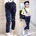 Fashion Baby Girl Jeans Colorful Paint Kid Jean Pants Splash-ink Elastic Waist Spring Autumn Children High Quality Denim Trouser