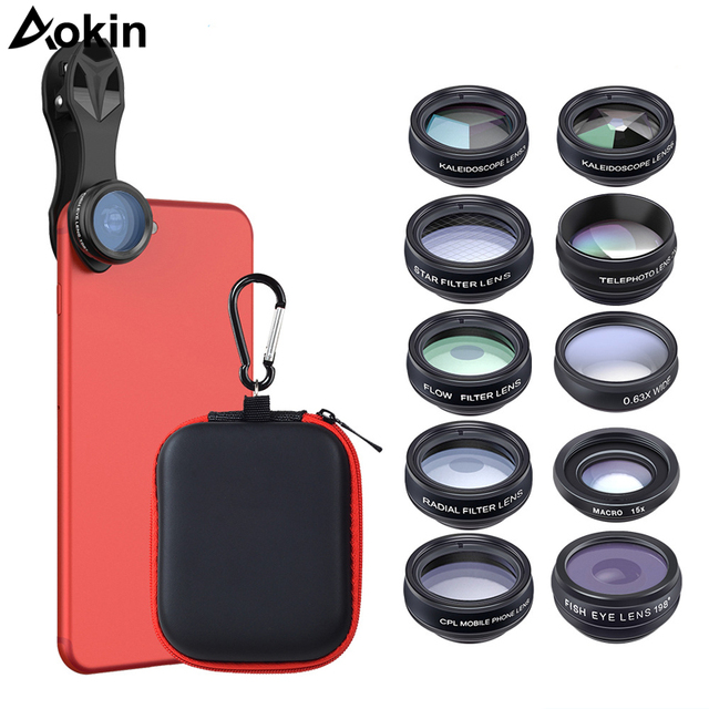 outlet store 6015b 41b0d US $17.49 35% OFF|Aokin Phone Camera Lens For iPhone 10 in 1 Zoom Len Kit  Fisheye Wide Angle Macro 2X Telescope Lens For Xiaomi Android Phones-in ...