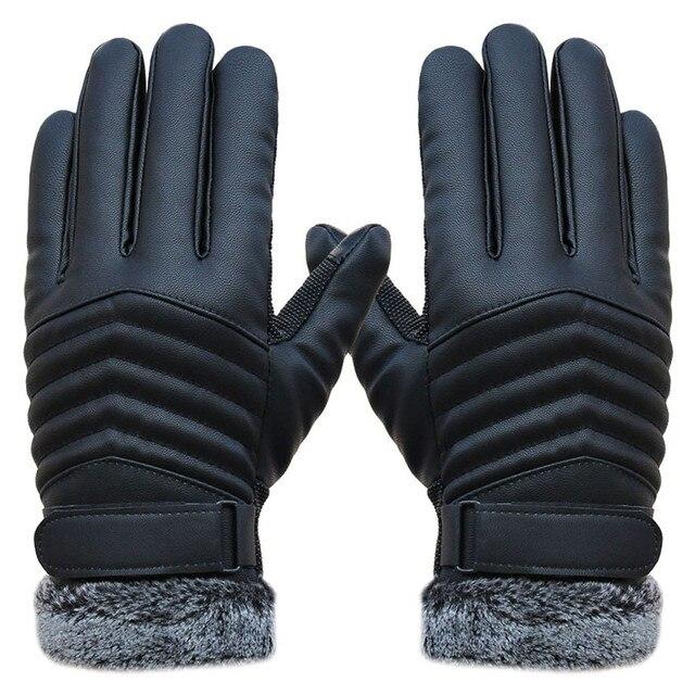 12085eee0ebb6 Delicate Men Winter Gloves Men's Leather Gloves driving glove Slip Men  Thermal Winter Sports Gloves Military Mittens