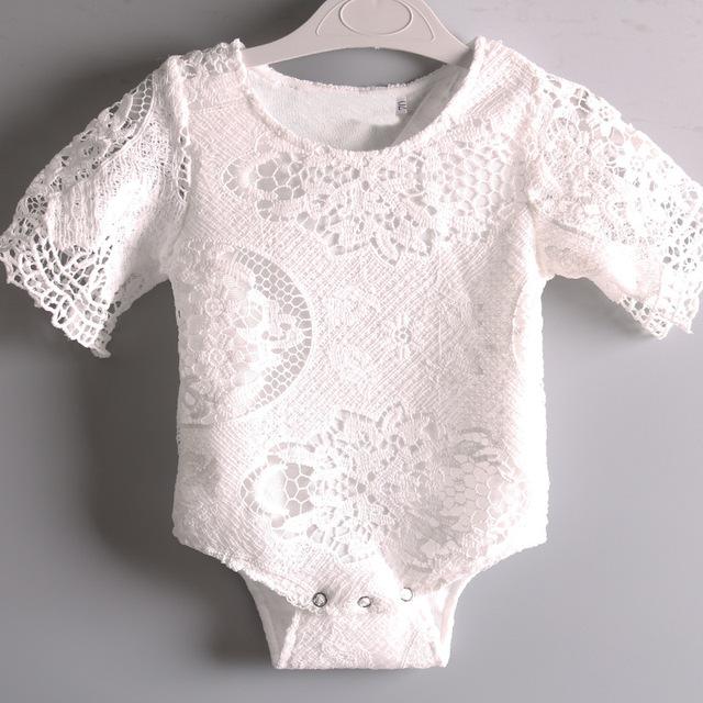 Metade Branca de Manga Rendas Moda Bodysuits do bebê Da Criança Infantil Verão Ins Venda Quente Macacões de Bebê Meninas Escalada Pano