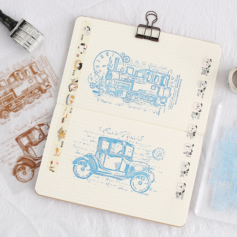Scrapbook DIY album card, hand account, rubber stamp, finished product, transparent seal, vehicle scrapbook diy photo album card hand account rubber seal product seal transparent seal stamp cat