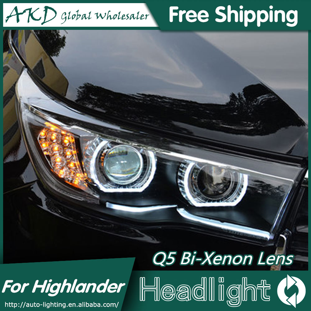 AKD Car Styling for Toyota Highlander LED Headlights 2015 Angel Eye Headlight DRL Bi Xenon Lens High Low Beam Parking Fog Lamp коврик для ванной canpol нескользящий 34x55 см