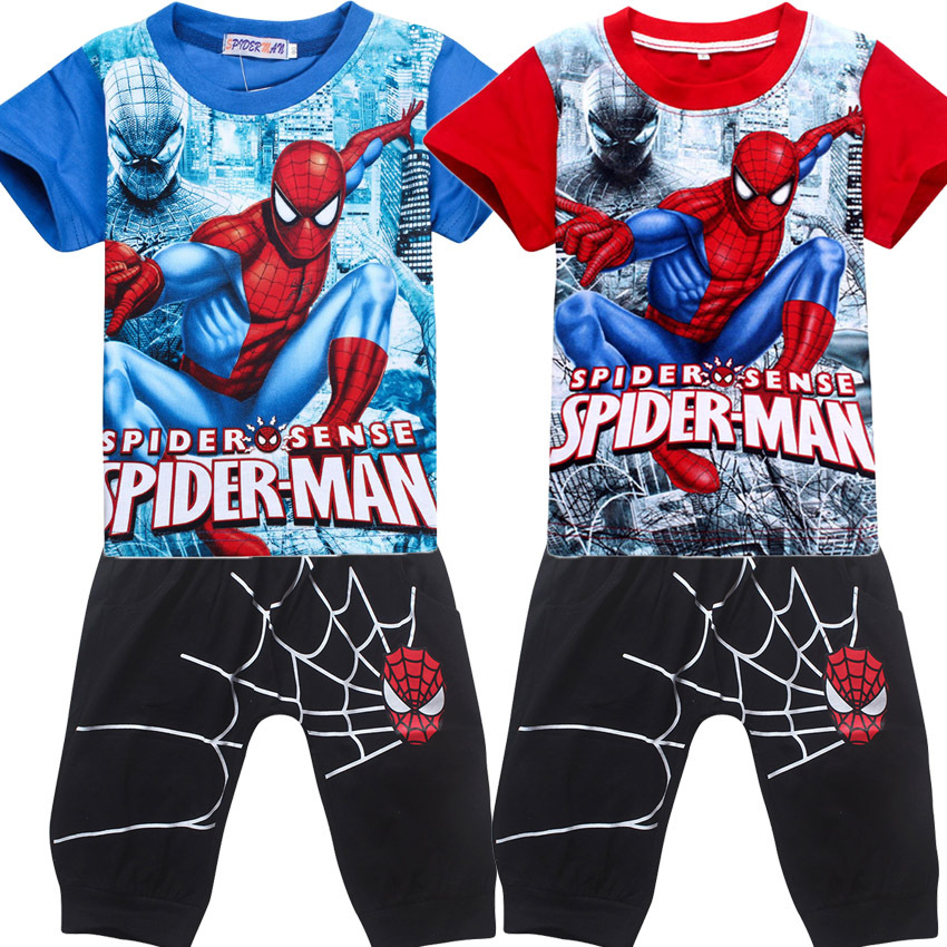 Kids Shorts Boy T Shirts Suits Cotton Spiderman Tops Children Batman Superman Tees Summer T-shirts & pants set for boys clothing parzin brand quality children sunglasses girls round real hd polarized sunglasses boys glasses anti uv400 summer eyewear d2005