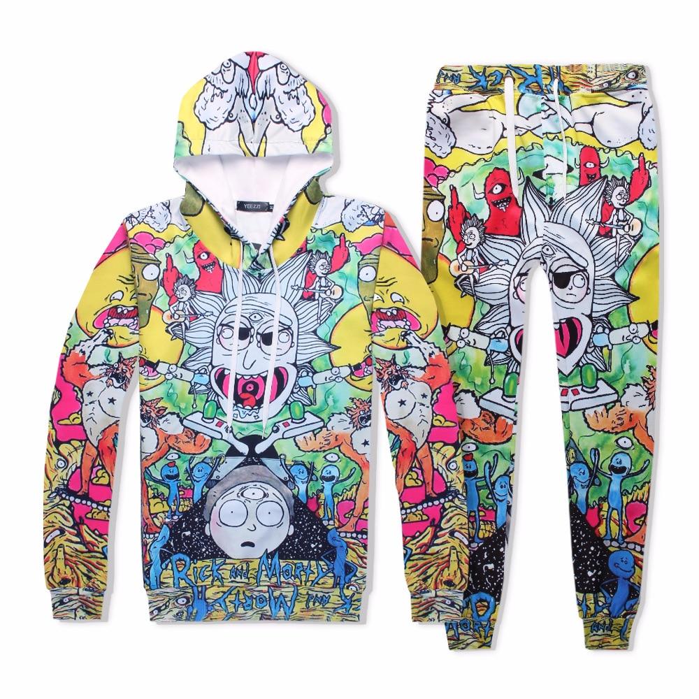 Halloween anime set costume 3D Printed Sweatshirt Cardigan Sweater Rick And Morty Cosplay fashion Cartoon hooded Jackets Pants