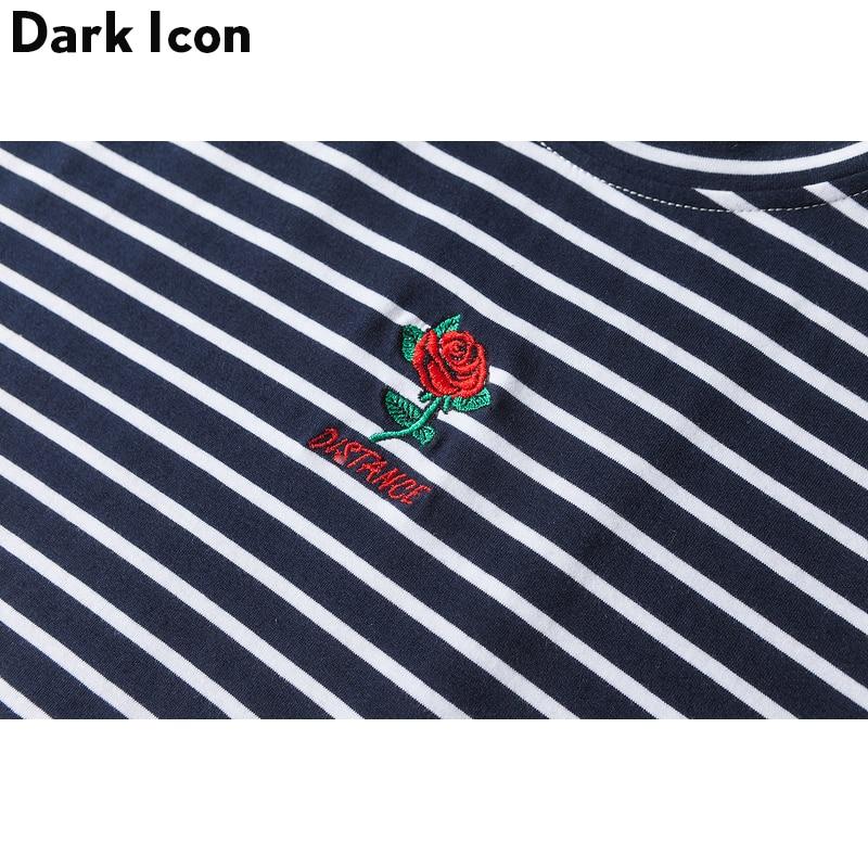 Dark Icon Rose Embroidery Striped Mens T-shirt Short Sleeve 2019 Summer Hi-street Oversized Hip Hop Tshirt Cotton Tee Shirts 4