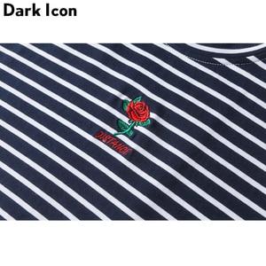 Image 5 - Darkไอคอนกุหลาบเย็บปักถักร้อยลายMensเสื้อยืดแขนสั้น2019ฤดูร้อนHi Streetขนาดใหญ่Hip Hop Tshirtผ้าฝ้ายTeeเสื้อ