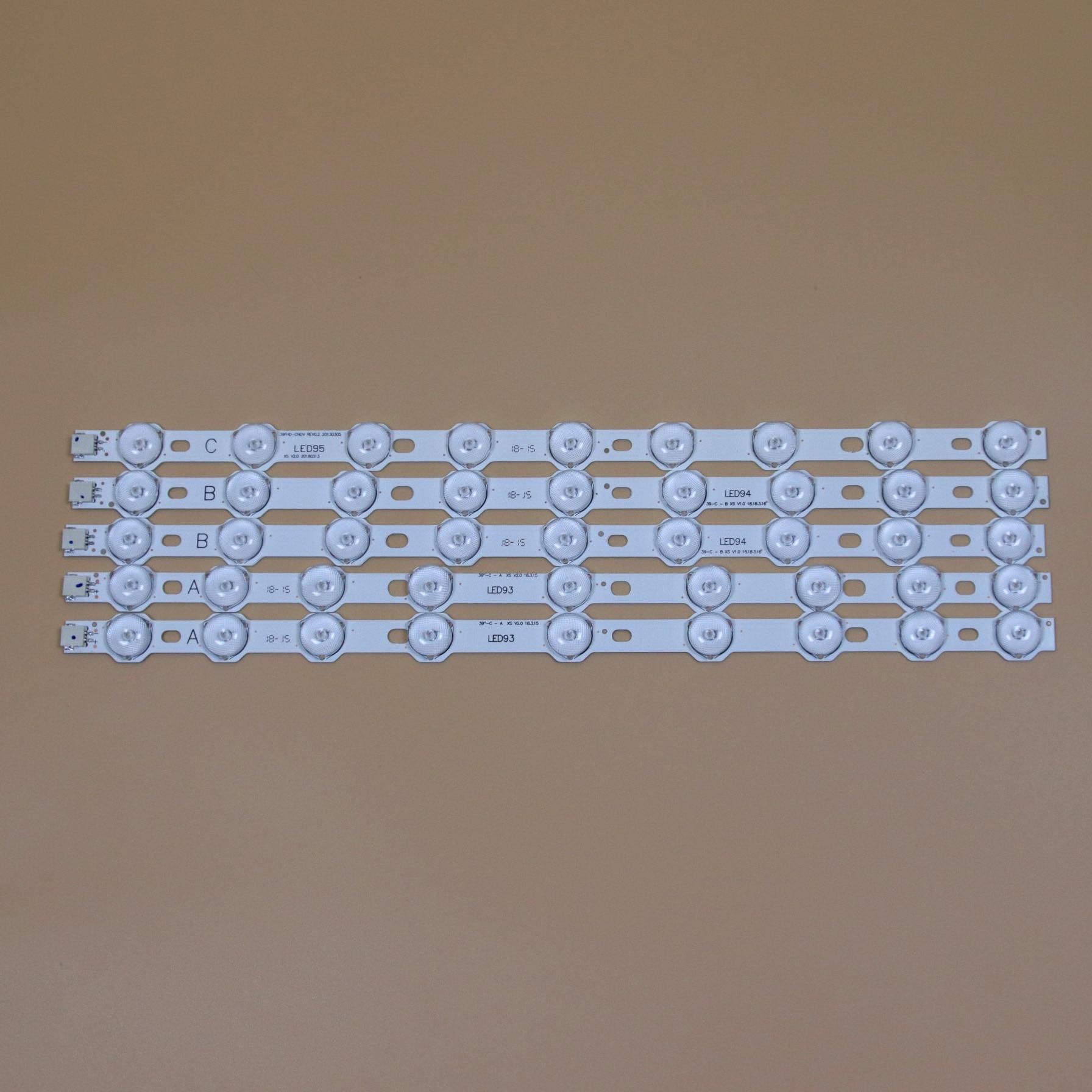 TV LED Bars For PHILIPS 40PFL3008H-12 40PFL3008K/12 40PFL3028H/12 40PFL3018H/12 LED Backlight Strips Kit 9LED Lamps Lens 5 Bands
