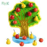 [Fly AC] New Montessori Educational Wooden Toys Magnetic Apple Pear Tree Toys for Children Birthday Gift