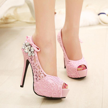 2017 Women sweet lace party pumps New mesh thin high heel dress shoes Woman peep toe fashion crystal wedding sandals  size 35-41