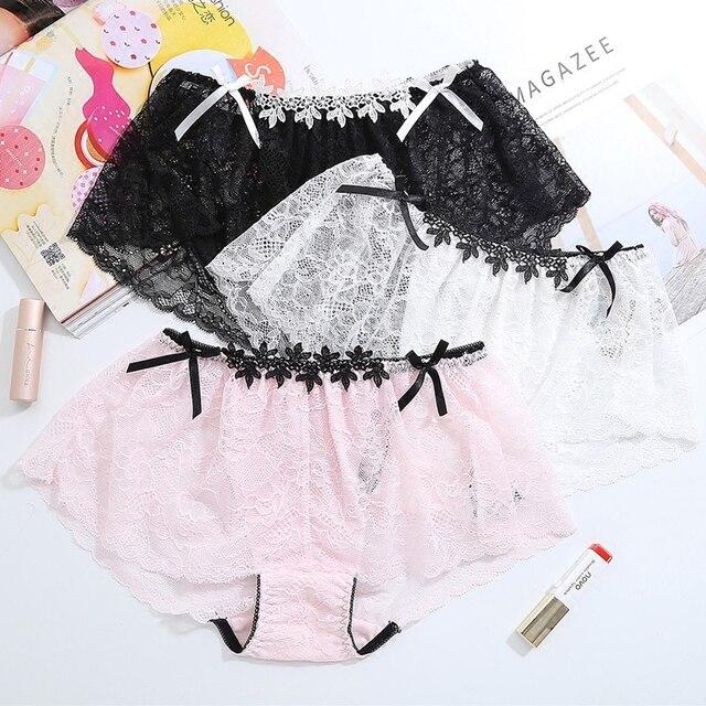 cbce75e0d Lovely girls lace transparent hollow lure hot pants four angle pants majtki  damskie stringi damskie culotte femme perizoma