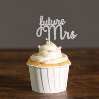 Gold Silver Glitter Future Mrs Cupcake Toppers Wedding Bridal Shower Decor Food Picks Party Favors Cake