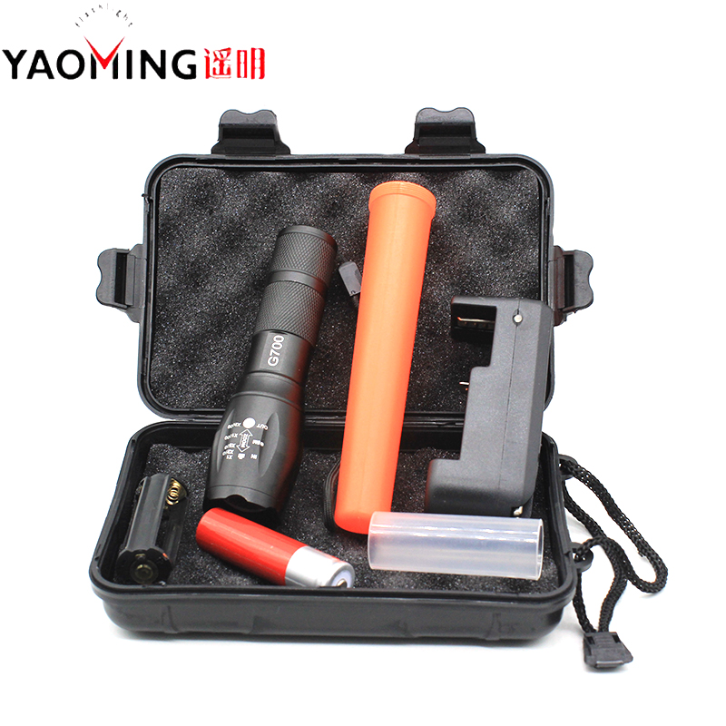 Gift box 3800lm cree xm-l t6 waterproof rechargeable led focus adjustable tactical flashlight torch lamp+18650 battery+charger led cree q5 free shipping waterproof led flashlight lamp torch adjustable focus zoomable 600lm for 18650 rechargeable battery