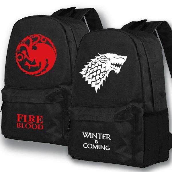 Новинка 2017 года Игра престолов рюкзак Средняя школа студент мешок boobkag дорожная сумка рюкзак Для мужчин Для женщин свободное время Рюкзаки
