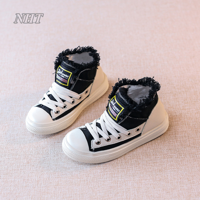 edb81368eb96 toddler fall 2017 canvas boots ankle hip-pop casual playboy   girls  personality shoes toddler kid 26~37 size fit