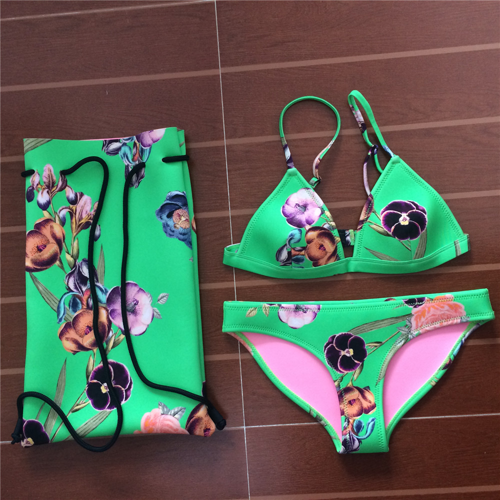 BIYISI 2017 Sexy Neoprene Bikinis Women Swimwear Swimsuit Print Bikini Set Halter Top Beach Bathing Suits Swim Wear nakiaeoi 2017 sexy cross bikinis women swimwear high wasit swimsuit push up bikini set halter top beach bathing suits swim wear page 8