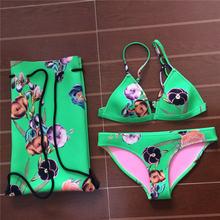 BIYISI 2017 сексуальная неопрена бикини женщин купальники купальник печати бикини установить короткий Топ пляж купальники купальники