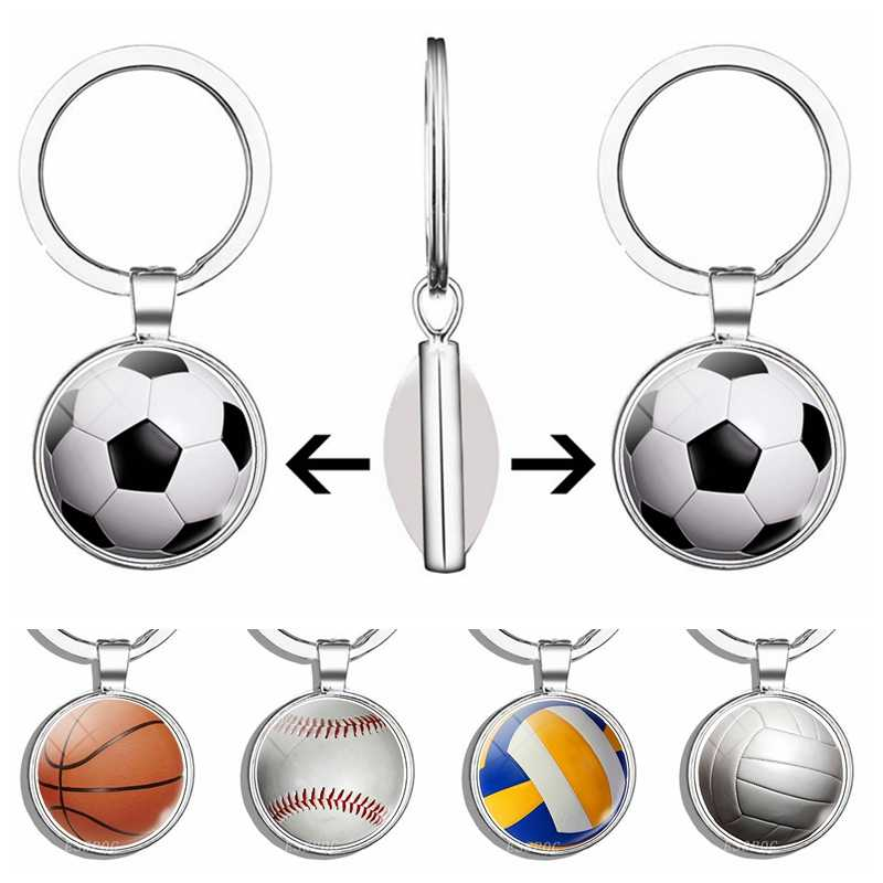 Football Glass Cabochon Keychain Double Sided Volleyball Basketball Football Baseball Key-chain Jewelry Gifts for Men
