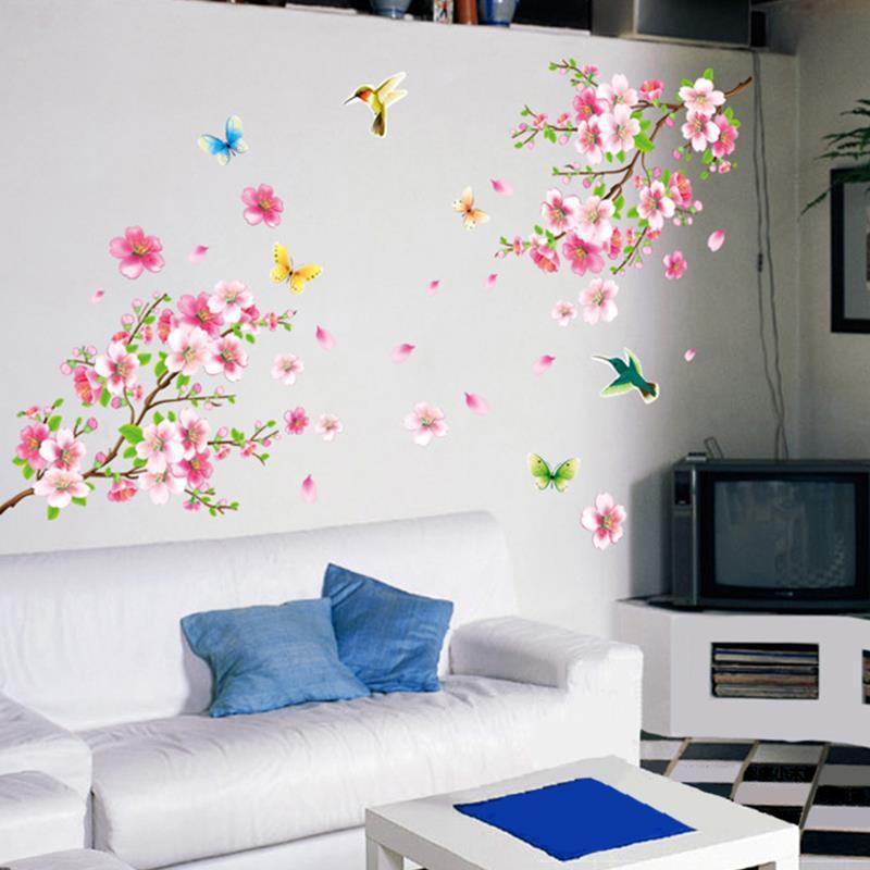 Aliexpress Buy 3d Diy Tree Pink Flower Wall Sticker