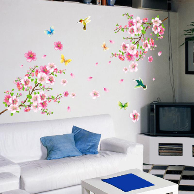 Buy 3d diy tree pink flower wall sticker for Decor zone tv unit