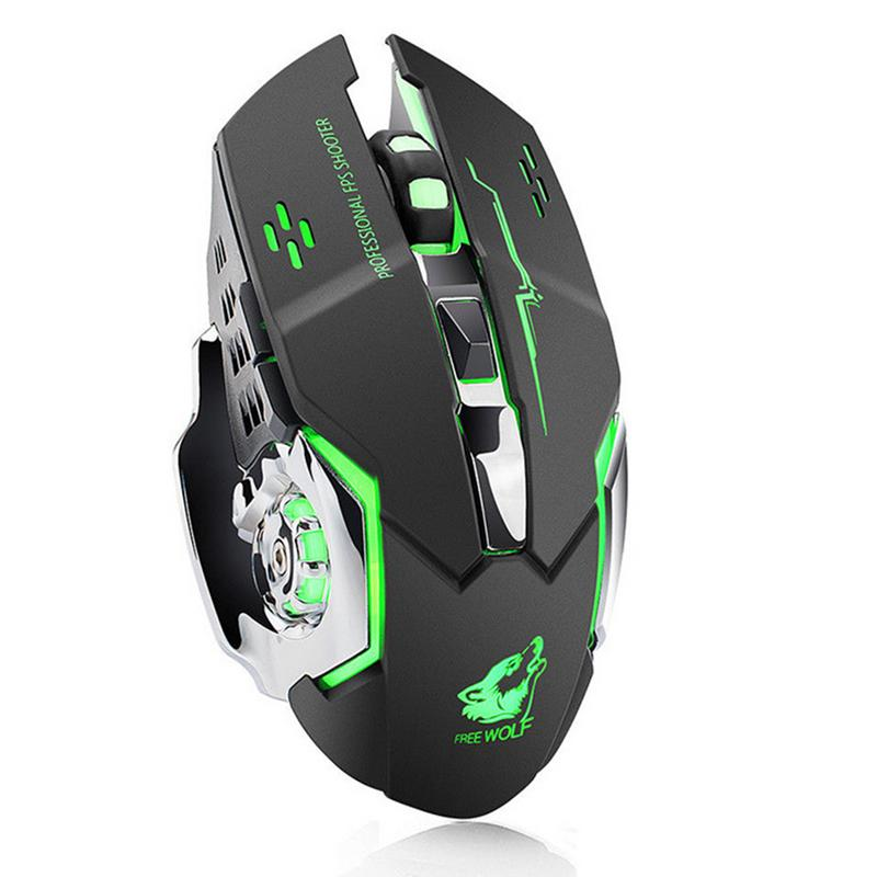 X8 Wireless Rechargeable Game Mouse Silent Illuminated Mechanical 1800Dpi 2.4G USB Wireless 7 Color Mouse