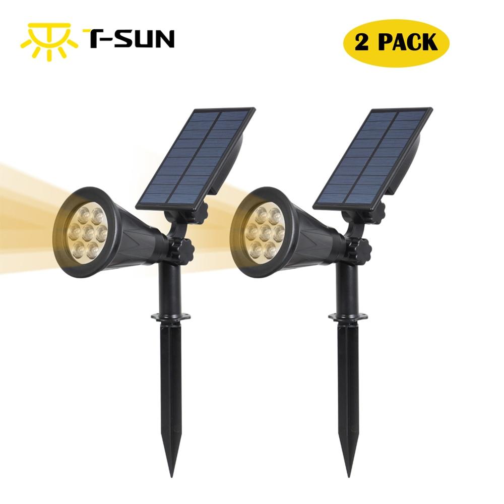 T-SUNRISE 2 PACK Ηλιακή Powered Garden Spotlight Χριστουγεννιάτικο φως υπαίθρια για το τοπίο Ground ή Wall Mount οδήγησε λαμπτήρα κήπου