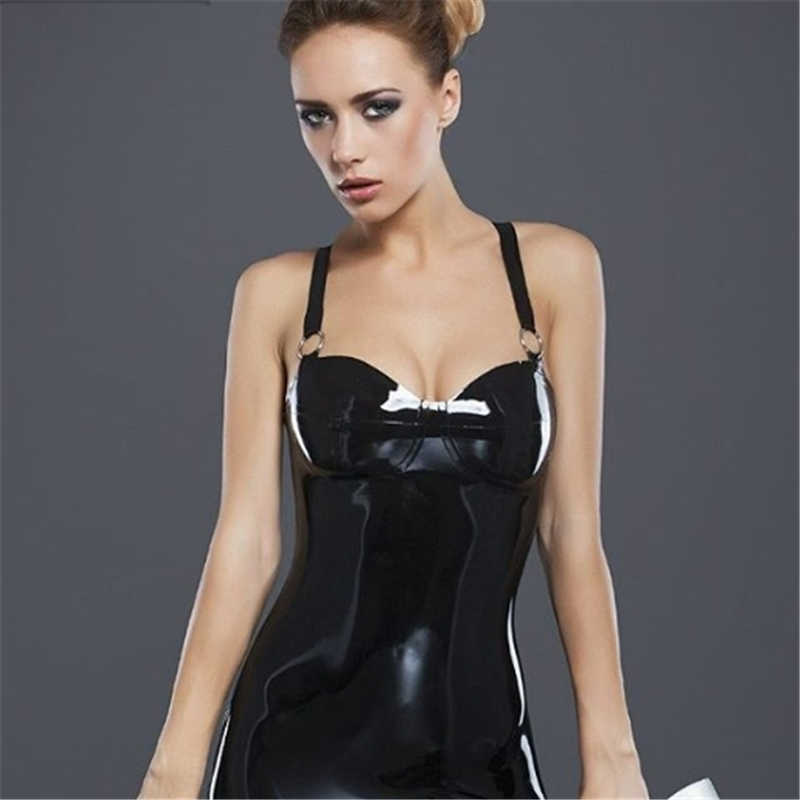 Latex Dress Decorated with Metal Rings Sexy Women's Mini Dress