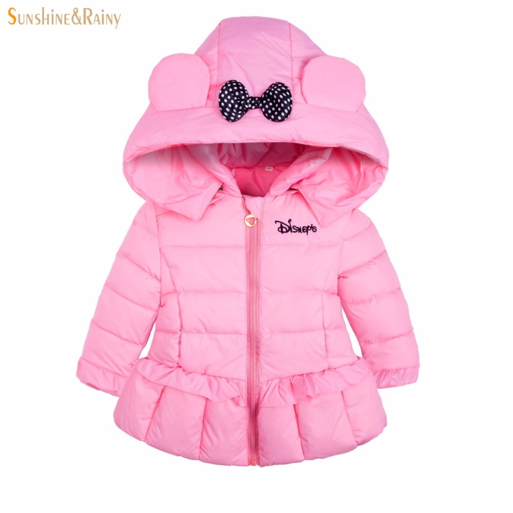 2016 New Winter Down Jacket For Girl Bow Hooded Children Outerwear Clothes White Duck Warm Baby Girls Princess Coats
