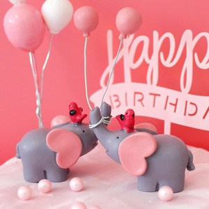 Image 3 - Cute Balloon Bird Elephant Animal Party Cake Topper Baby Shower Boy Girl Birthday Party Decorations Kids Happy Birthday Gifts
