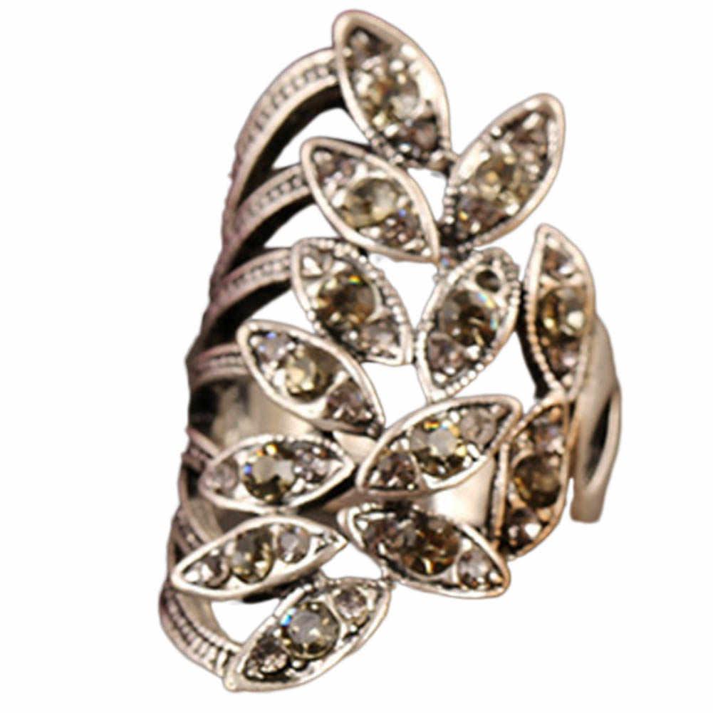 Vintage แหวนทองโบราณสี Cross Leaves คริสตัลแหวนผู้หญิงเครื่องประดับแฟชั่นแฟชั่นแหวน Rhinestone