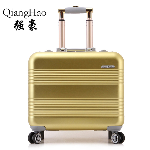 18 inches Aluminum Alloy bags Customs combination lock travel carriage rolling box business men landing chassis suitcase