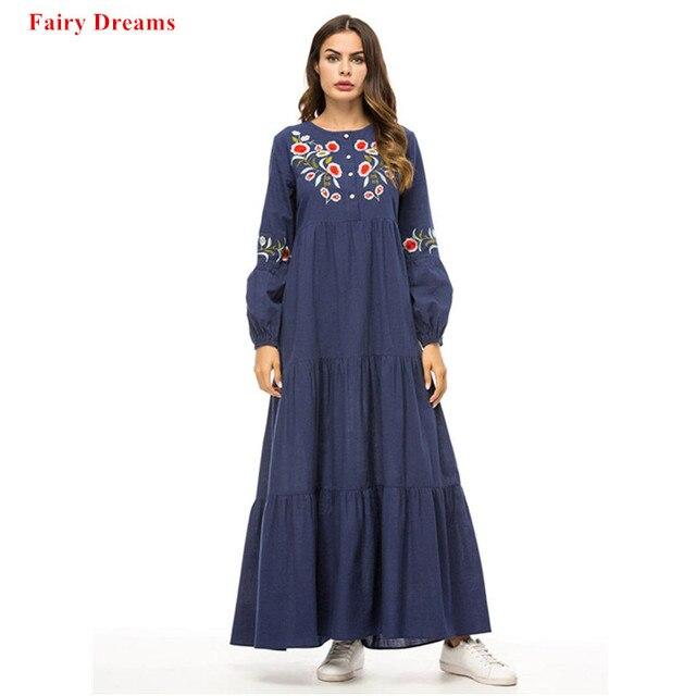 fc6848a47c Women Muslim Abayas Denim Maxi Dress Embroidery Loose Bandage Dresses Arab  Dubai Islamic Clothing Long Dresses Plus Size Robe
