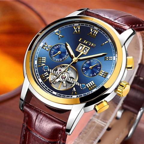 LIGE Mens Watch Top Brand Luxury Automatic Mechanical Watch Men Clock Tourbillon Waterproof Sport Watches Relogio Masculino gift Lahore
