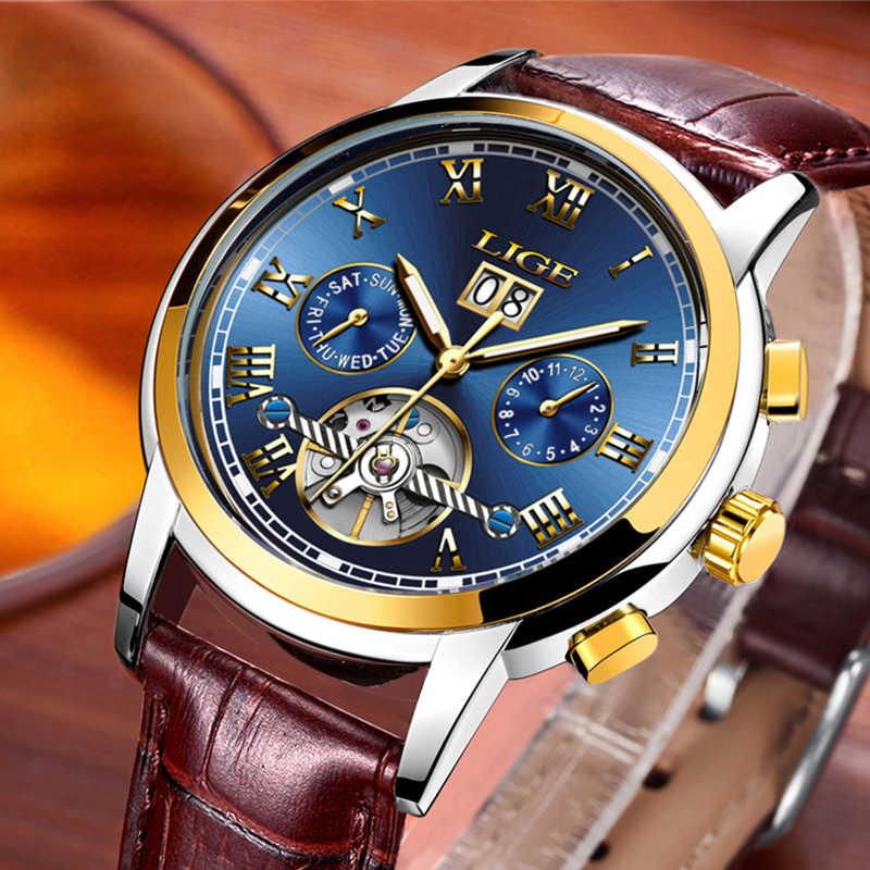 Reloj mecánico automático de lujo LIGE para hombre, reloj Tourbillon resistente al agua, relojes deportivos, regalo Masculino