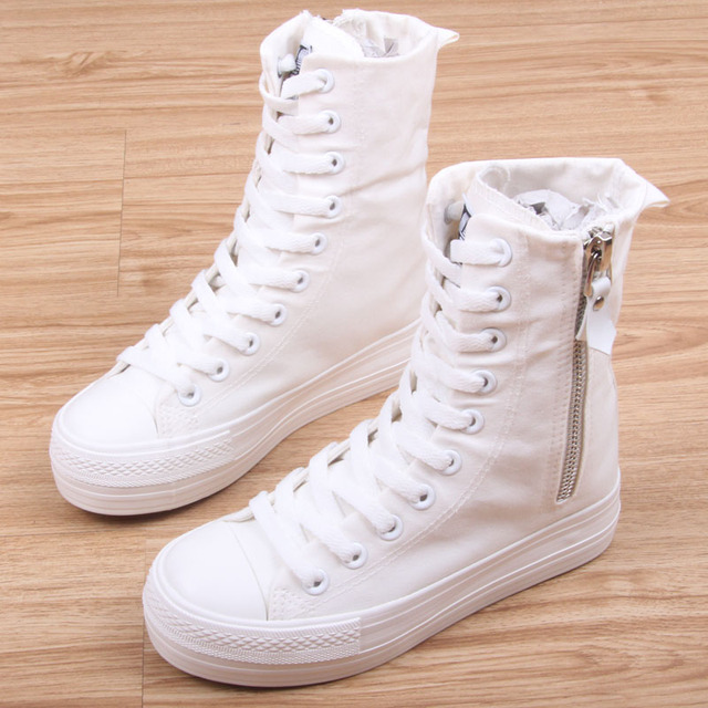 high top platform girl's casual canvas shoes 2017 spring autumn side zipper fashion female leisure shoes