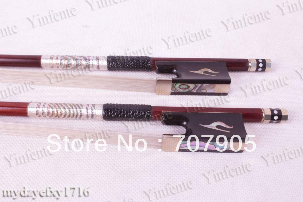2x New 4/4 Violin Bow Brazil Wood Ebony Frog High quality 1 4 size 812vb pernambuco violin bow high density ebony frog with nickel silver good quality hair straight violin accessories